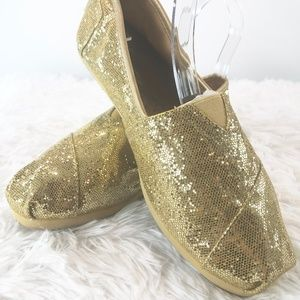 TOMS Gold Glitter Canvas Flats Size 8